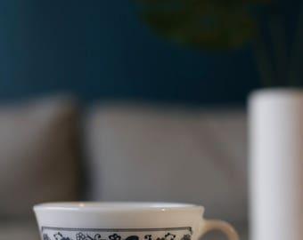 Vintage Pyrex Old Towne Blue Floral Teacup