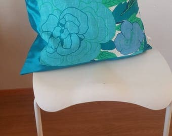 cushion cover, blue flowers,