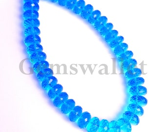 Swiss Blue Quartz Faceted Beads, Swiss Blue Faceted Roundel Briolette Beads, 12 mm, 10 Inch 1 Strand Gemstone Beads.