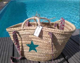 Turquoise star and liberty handles Beach basket/bag
