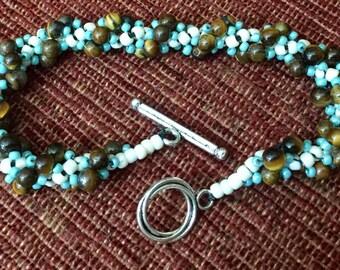 Turquoise, tiger eye seed bead bracelet
