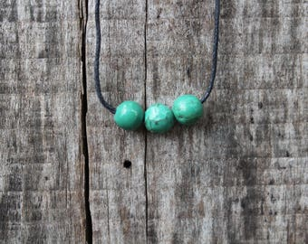 Triple Green Stone Ball Choker