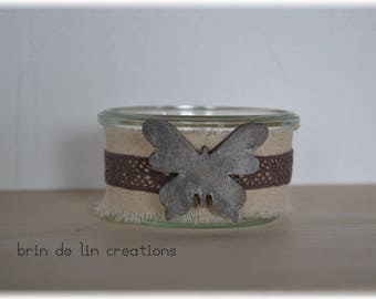 linen, lace and wooden Butterfly Tealight holder