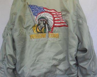 Vintage Yellow Corn Motorsport Equipment//Reversible Jacket//Embroidred Logo//Made in Japan