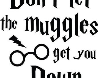 Harry Potter, Don't let the Muggles get you down, Sticker, Vinyl decal for tumbler, water bottle, etc decoration