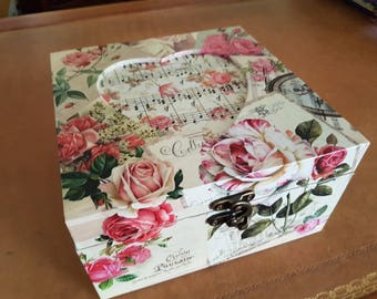 Decoupaged Wooden memory box with heart cutout