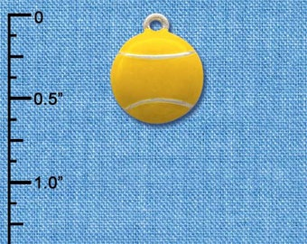 C1068 tlf - Large Yellow Tennis Ball - Silver Plated Charm - QUANTITY OPTIONS