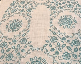 Vintage white linen tablecloth with blue cross-stitch pattern