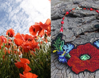 Jewellery,Necklace,Flower necklace,Handmade,Beaded necklace,Beading,Bead necklace,Red necklace,Beaded jewelry,Bib necklace,Handmade,National
