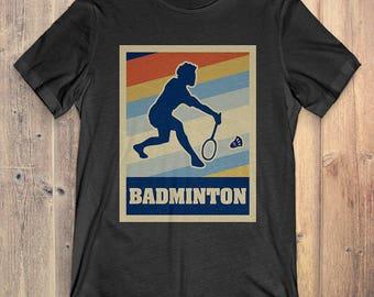 Badminton T-Shirt Gift: Vintage Style Badminton