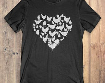 Chicken T-Shirt Gift: Heart Chicken