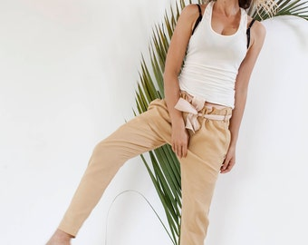 Kingfisher Gold Linen Pants with Soft Belt