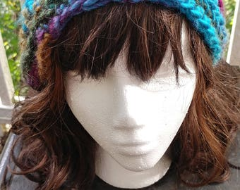 Vereigated Blue Crochet Slouchy Hat