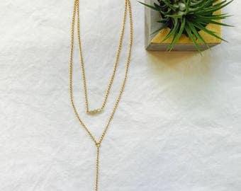 14k Gold Plated, Swarovski Crystal Lariat Choker