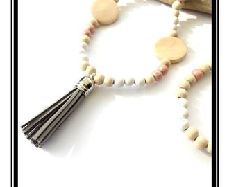 Grey tassel necklace & Pastel multicolor Bohemian boho necklace Tassel Natural zen wood grey silver