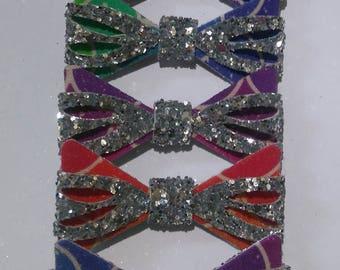 glitter hair bow, multicoloured hair bow, hair clip, hairbiw, hairbow clip