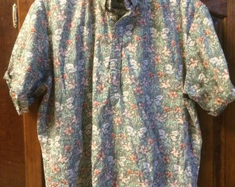 floral short sleeve Hawaiian button-down