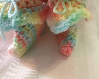 Pastel crocheted Baby booties / rainbow crocheted baby booties / ready to ship