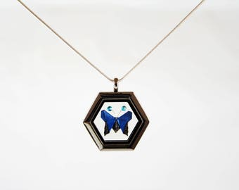 Origami Butterfly Necklace with Swarovski Crystals, Blue Butterfly, Paper Anniversary Gift, Glass Locket, Japanese Folded Paper Butterfly