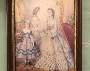 Vintage original print and frame of a Victorian bride- sold and hand delivery- Do Not Buy This Item!