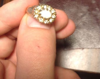 Gold Tone Vintage Costume Ring With Created Opal and CZ Size 6-6.5