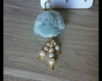 Tassel bag charm, faux fur and glass beads-