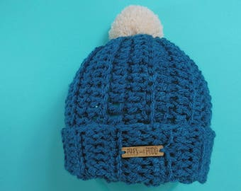 Adults | TEAL | Unisex Crocheted Bobble Hat | With Cream Pom Pom