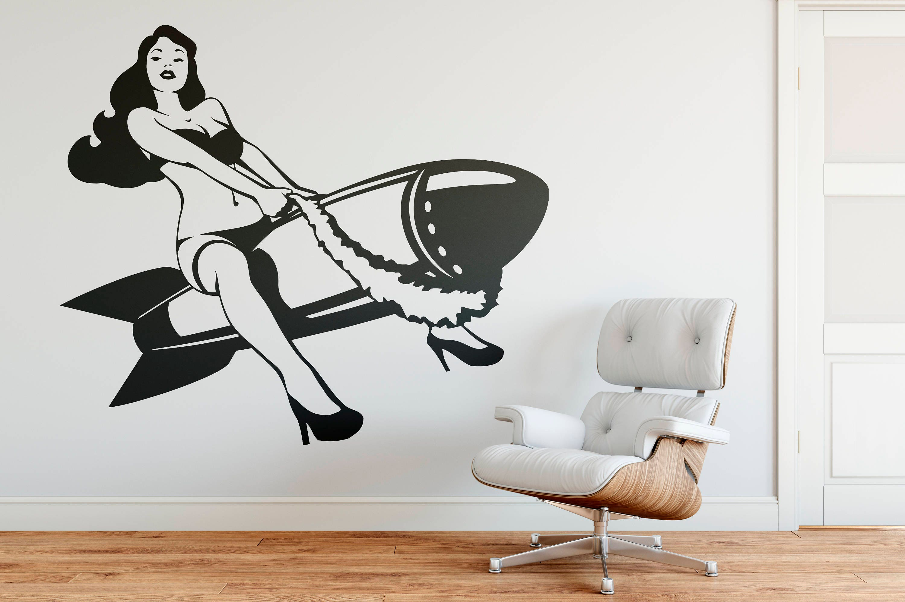 Sexy Pinup Girl Riding A Bomb Wall Decal, Old, Iconic And Vintage, Cheesecake Photo -5903