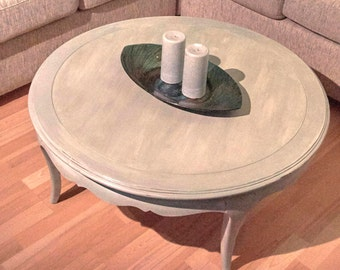 Vintage Blue Coffee Table, Chalk Painted Blue And Metallic Table, Blue  Painted Furniture,