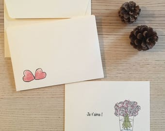 5 greeting cards 'I love you' - free shipping