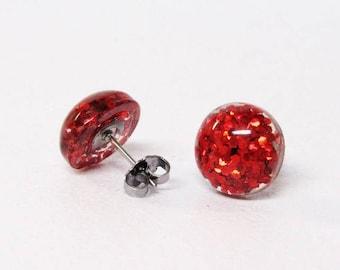Red Glitter Half Sphere Stud Earrings -shiny studs - Cheap earrings - Valentine's day Earrings - Stainless Steel - Resin Glitter - round fun