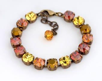 Yellow Red Rhinestone Bracelet, Swarovski Crystal Bracelet, Austrian Crystal Bracelet, Crystal Jewelry, Yellow Swarovski Jewelry, Duha