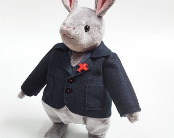 Gentlement Rabbit Soft Toy / Male Bunny Articulated Doll / Handmade Plushie / Stuffed Animal