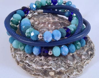 Beaded leather wrap bracelet with facet beads and 925 silver balls