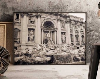 Trevi | Trevi Fountain, Rome, Wall Art Print, Photography, Italy, Travel, Black & White, Poster