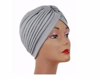 Gray Turban Hat Head wrap, Handmade Turban, Twist Turban, Chemo Hat turban, Hair Loss Hat, Head Wrap, Women Turban Hat, Suncap, Vintage Hat