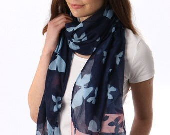Navy Blue Butterfly Scarf Women, Spring Summer Scarves, Womens Ladies Wraps Shawls, Oversized Scarf, Lightweight Scarf for Her, Mom