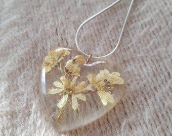 Dried flower resin pendant Filipendula vulgaris heart