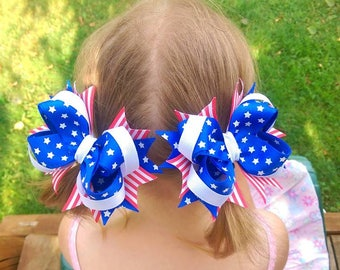 4 july accessories Big hair bow Baby girl hair tie Patriotic hairbow set American flag bow lot Boutique bow lot Toddler red white blue bow