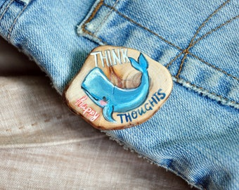 Blue whale brooch Ocean animal pin Wooden brooch with handpainted whale Whale art Sea life jewerly Ocean lover gift Summer badge Lapel pins