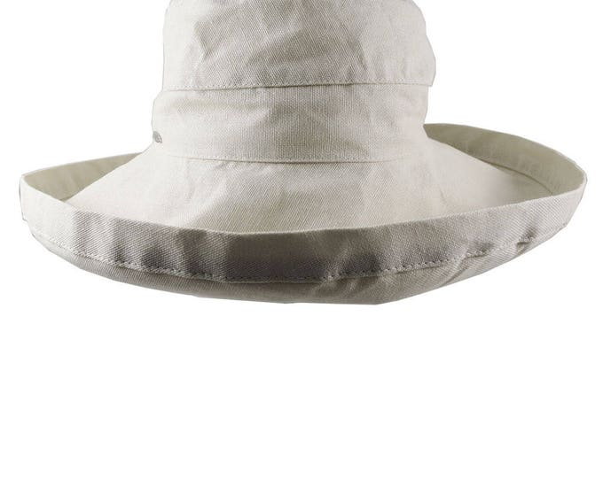 Deluxe Wide Brim Style Women's Fashion Sun Hat Adjustable Unstructured in Stone Beige