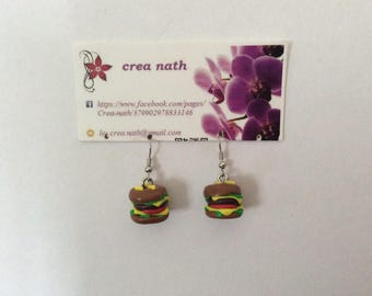 type of polymer clay Burger earring