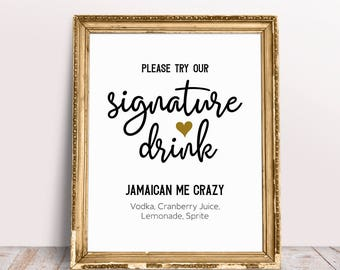 Signature Drink Sign, Personalized Wedding Sign, Please Try Our Signature Drink, Wedding Bar Sign, Bar Signage, Bar Sign For Wedding