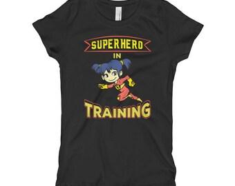 Girl's Superhero T-Shirt - Superhero In Training - Superhero Girl Shirt - Girls Superhero Gifts