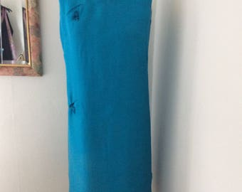 Silk shift Dress 1960s  Size 12. Turquoise.
