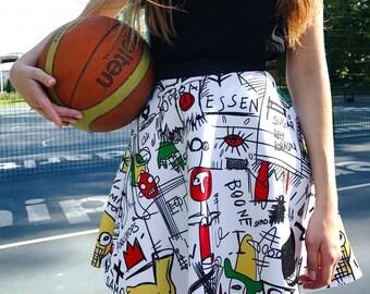 Jean Michel Basquiat paintings white skirt neoprene fabric streetwear