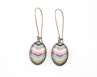 Earrings multicolor chevrons amid wood #1369