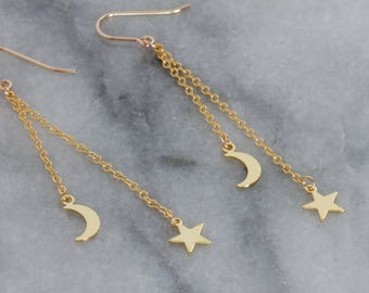 Moon and Star Earrings, 14k Gold-filled Charms with Gold-filled Ear Wires
