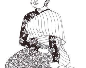 Figure drawing, Thai woman drawing, Thai illustration, Original Drawing for gift&decor, woman illustration, traditional dress