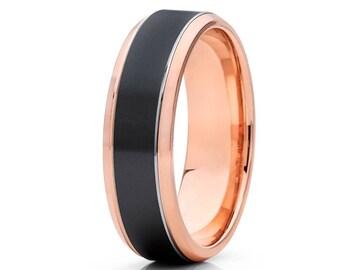 14k Rose Gold Wedding Band Black Zirconium Wedding Bands Brush Style Wedding Band